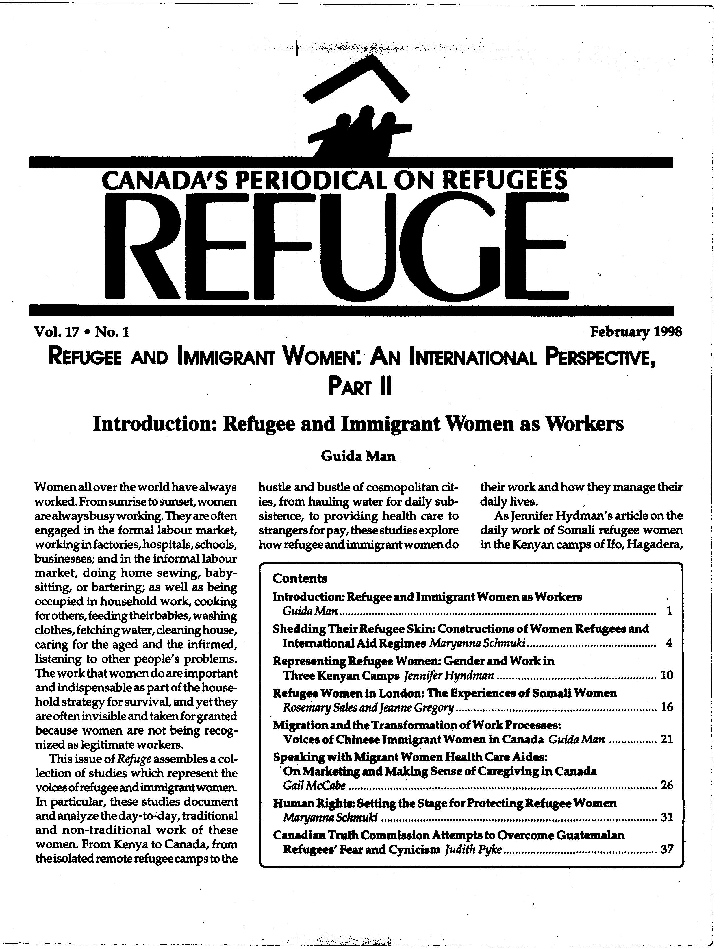 first page Refuge vol. 17.1 1998