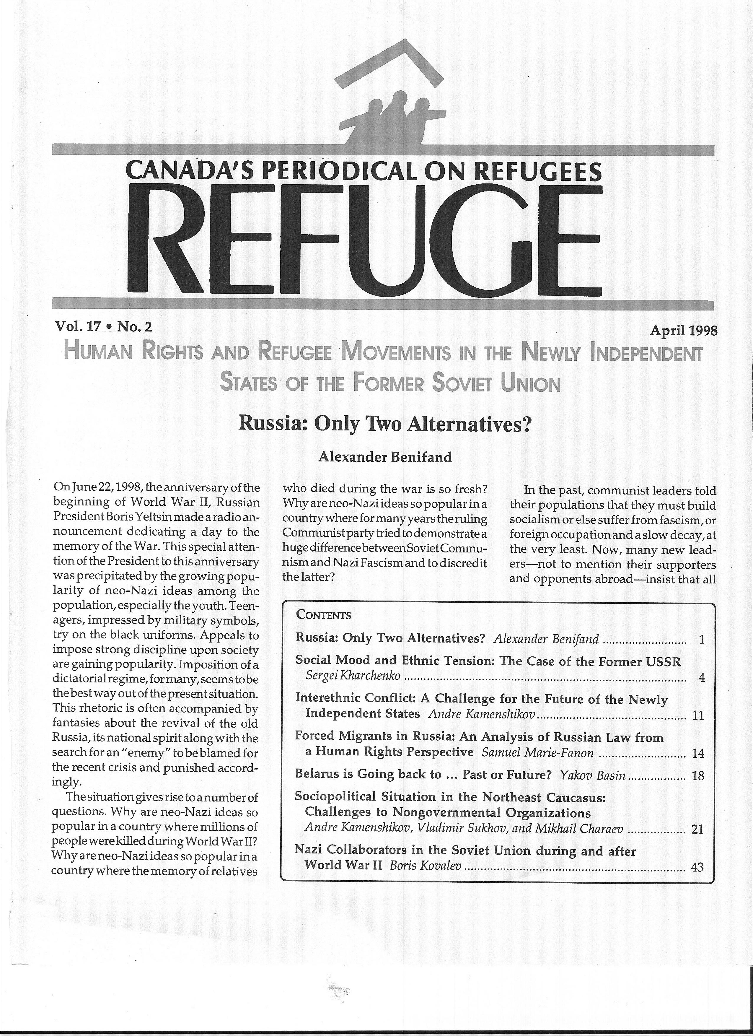 first page Refuge vol. 17.2 1998