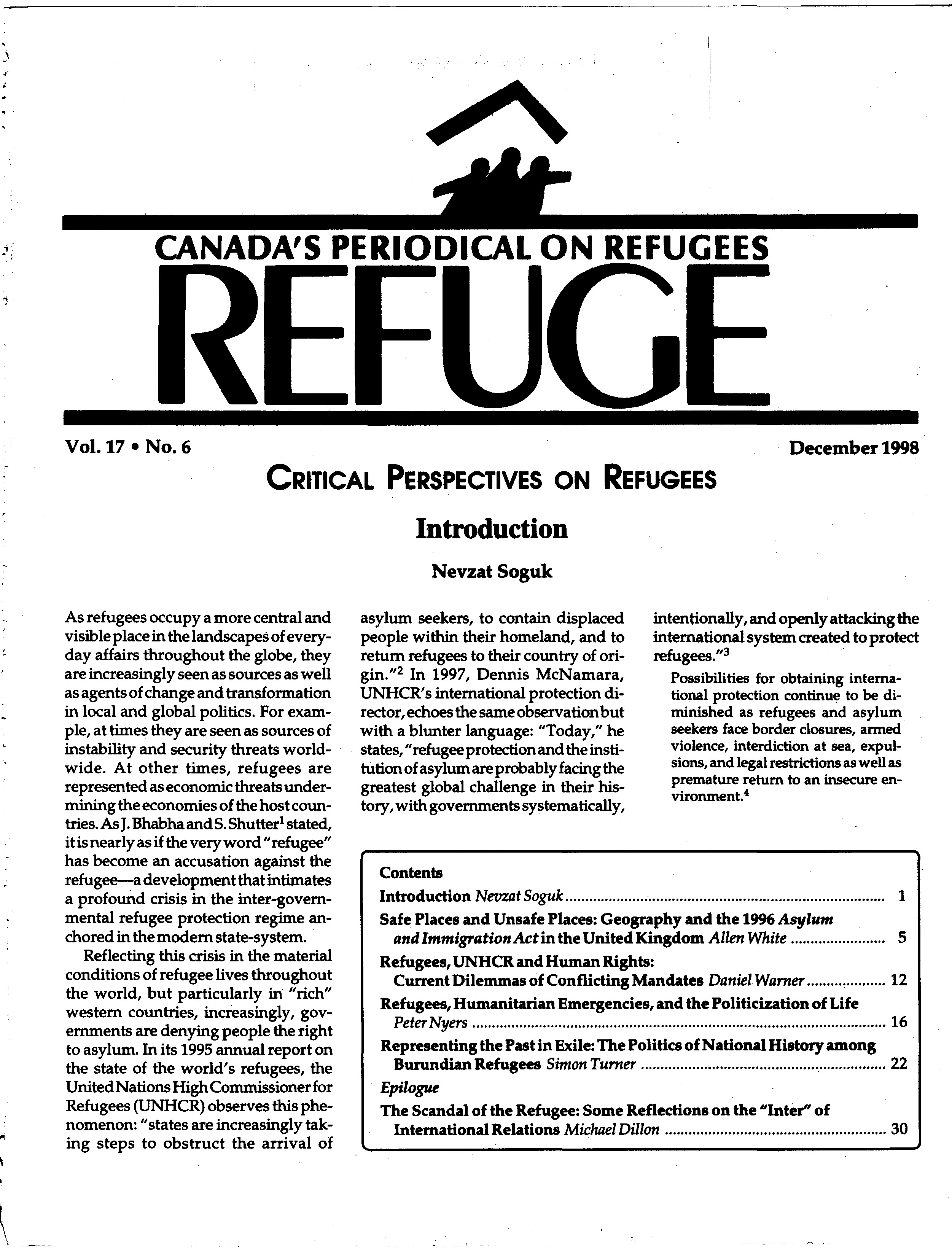 first page Refuge vol. 17.6 1998