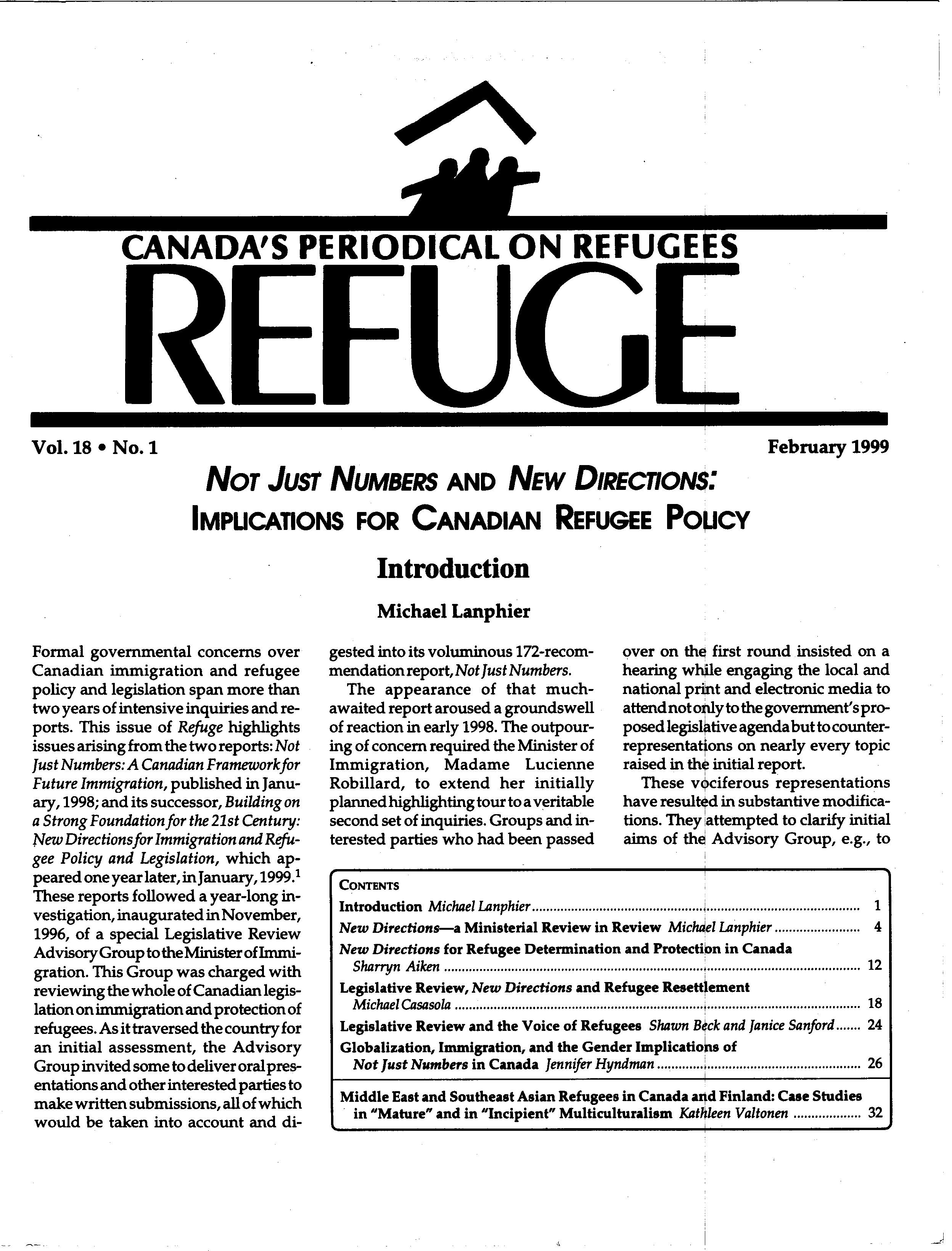 first page Refuge vol. 18.1 1999