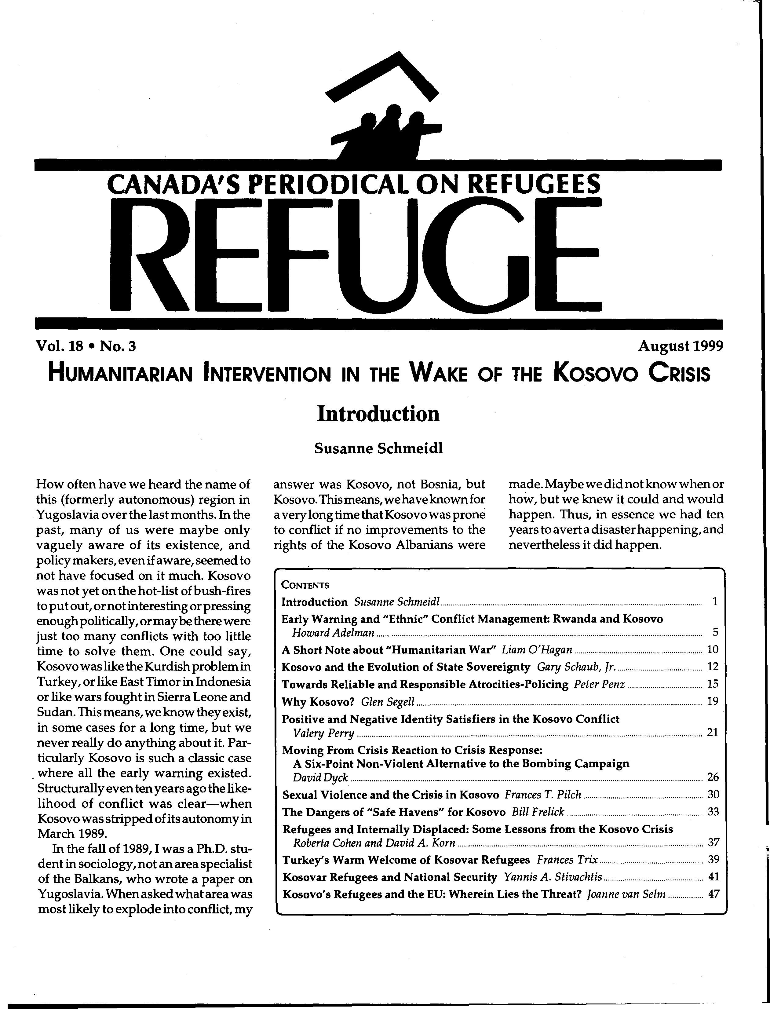 first page Refuge vol. 18.3 1999