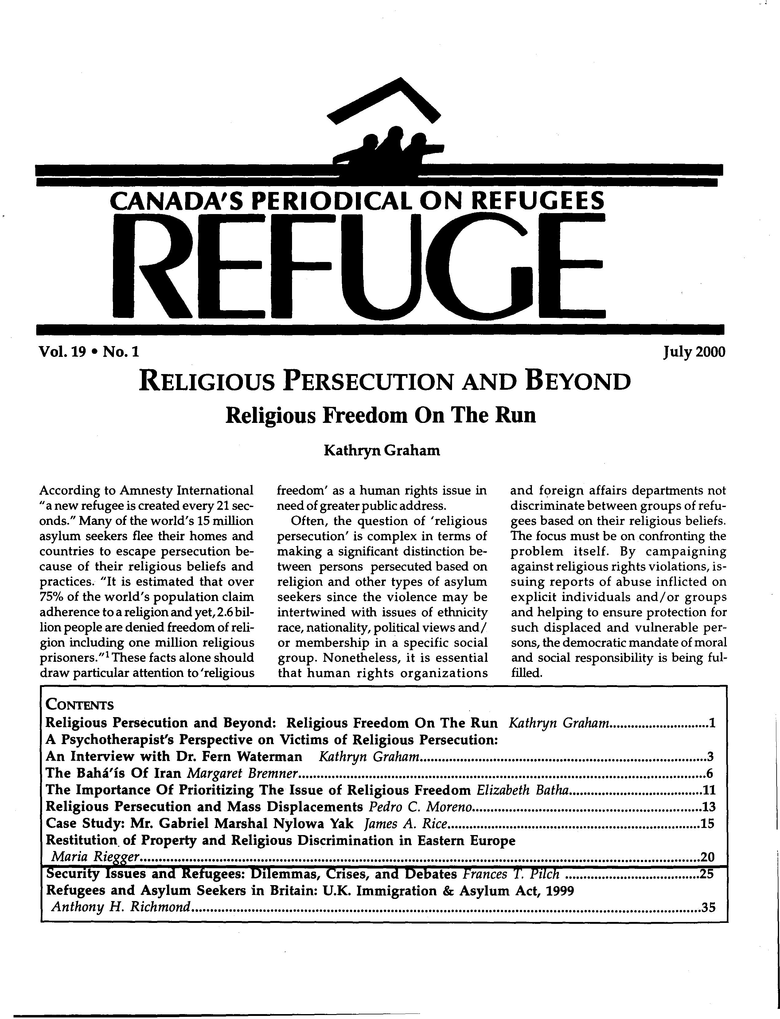 first page Refuge vol. 19.1 2000