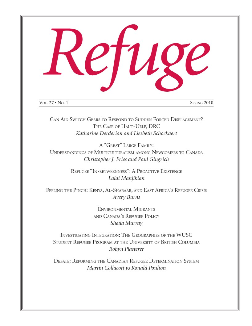 cover of Refuge issue 27 no. 1 2011