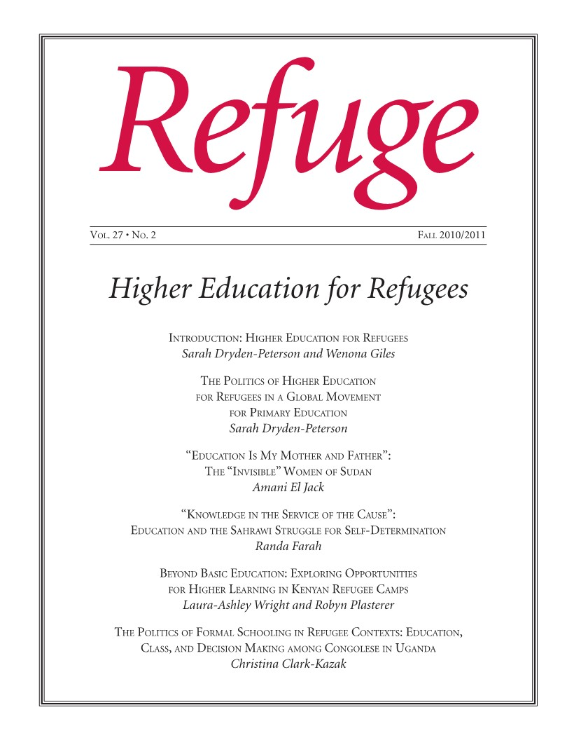cover of Refuge issue 27 no. 2 2010