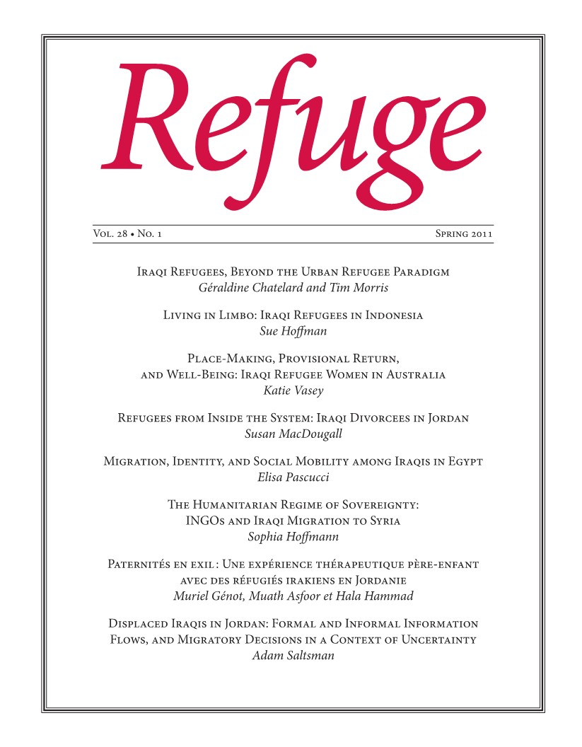cover of Refuge issue 28 no. 1 2012
