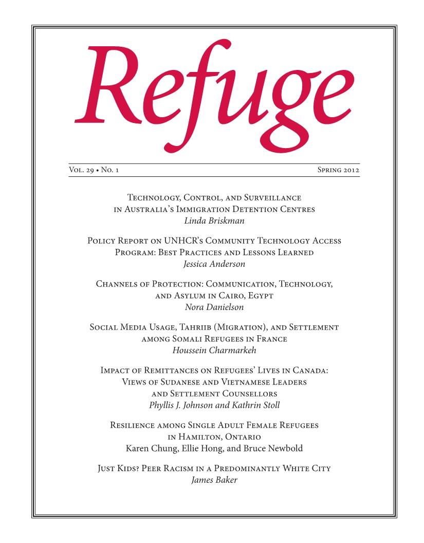 cover Refuge vol. 29.1 2013