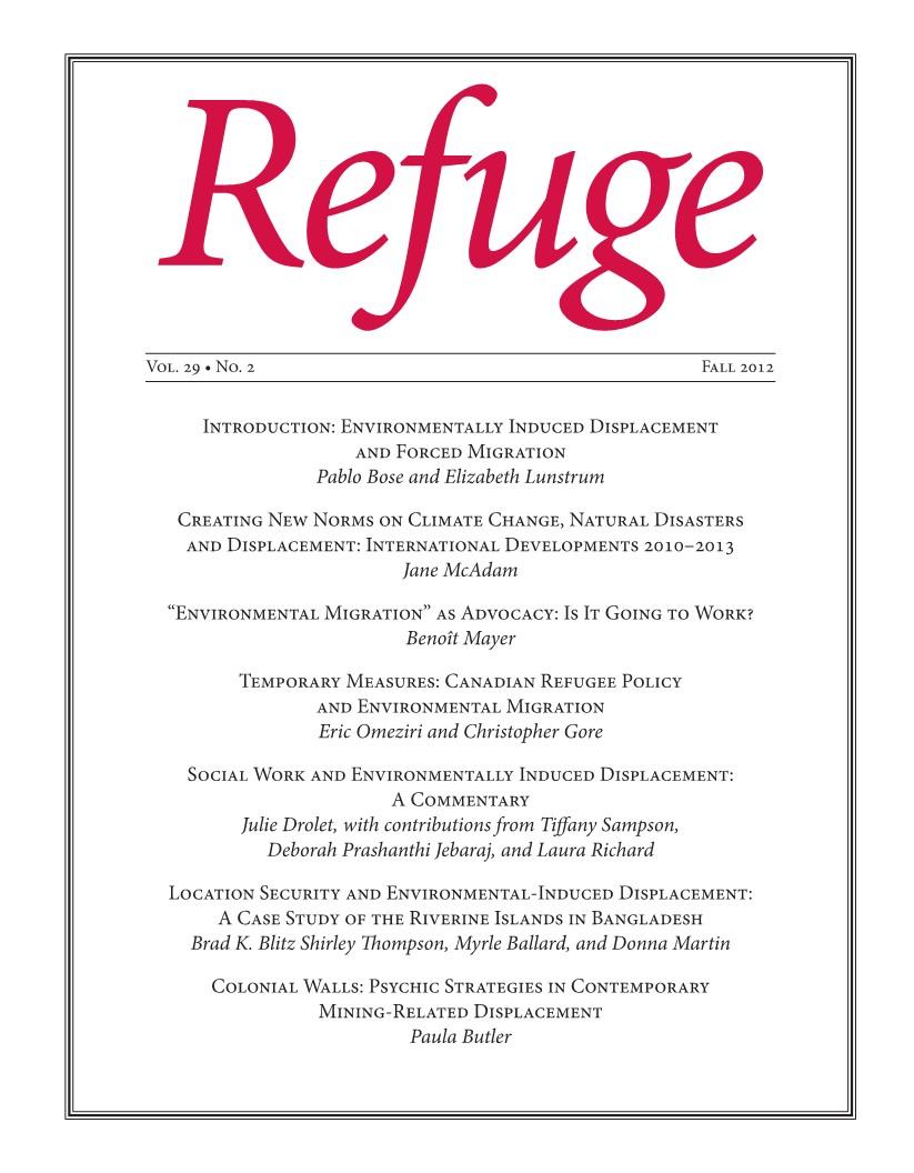 cover Refuge vol. 29.2 2014