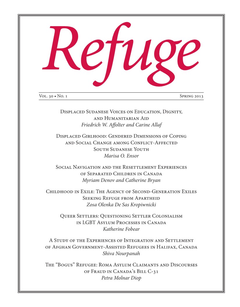 cover Refuge vol. 30.1 2014