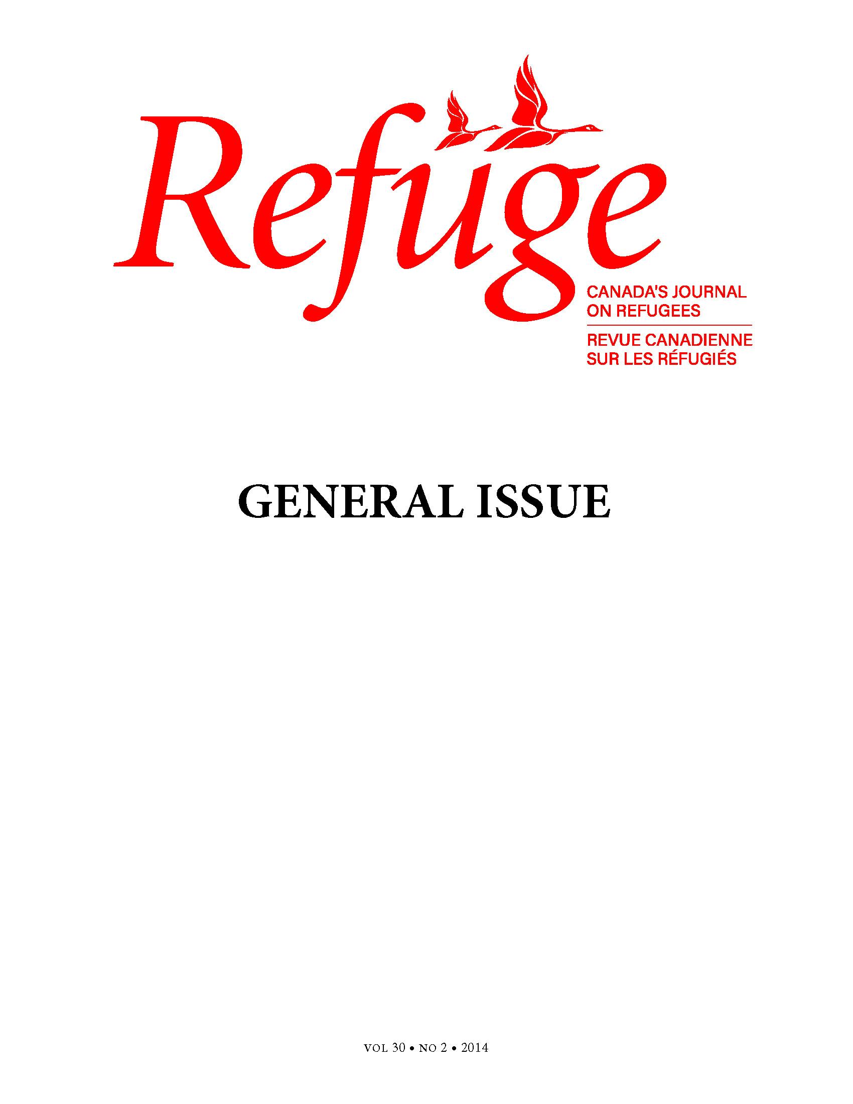 cover Refuge vol. 30.2 2014