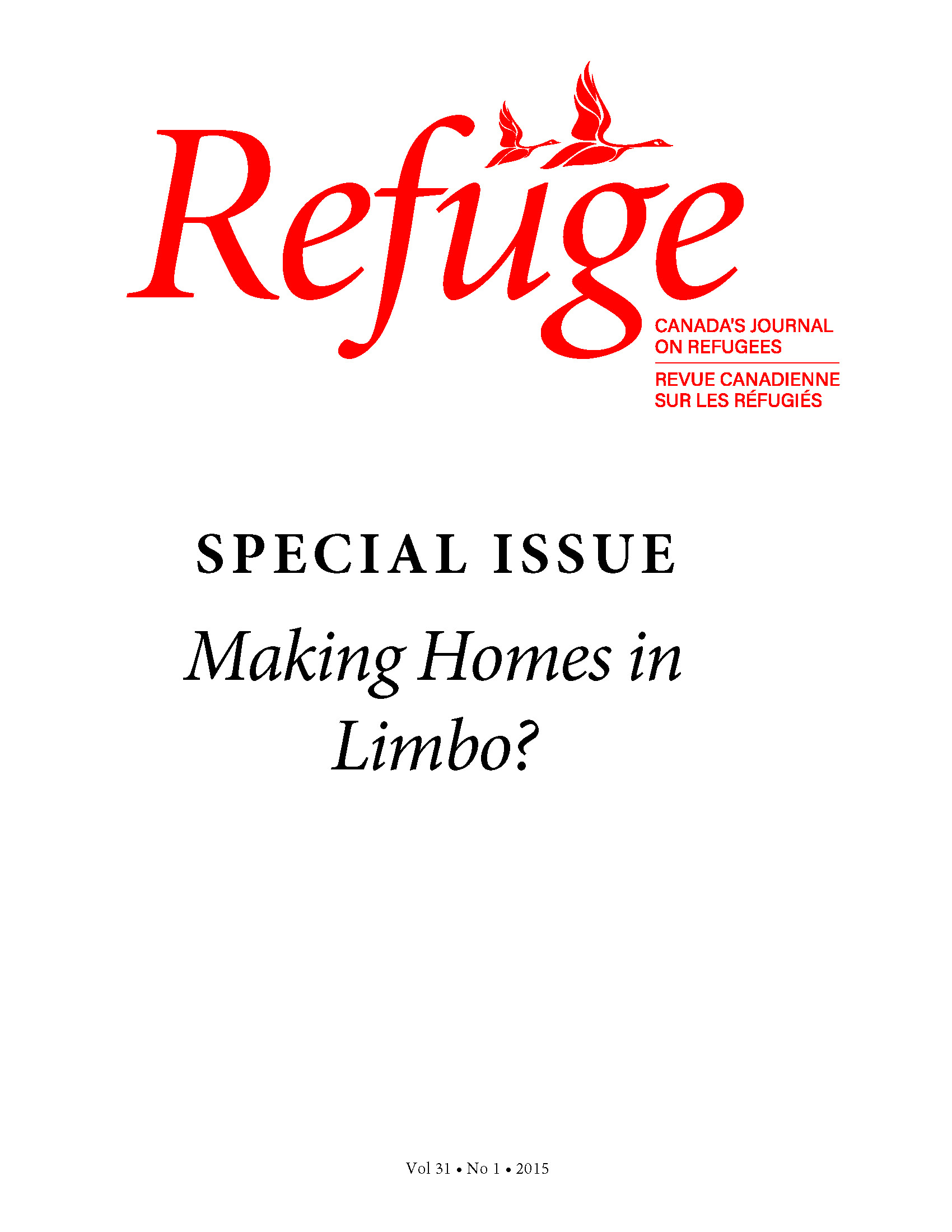cover Refuge special issue vol. 31.1 2015