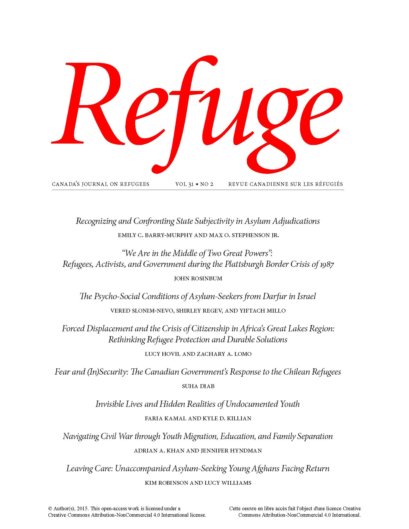 cover Refuge vol. 31.2 2015