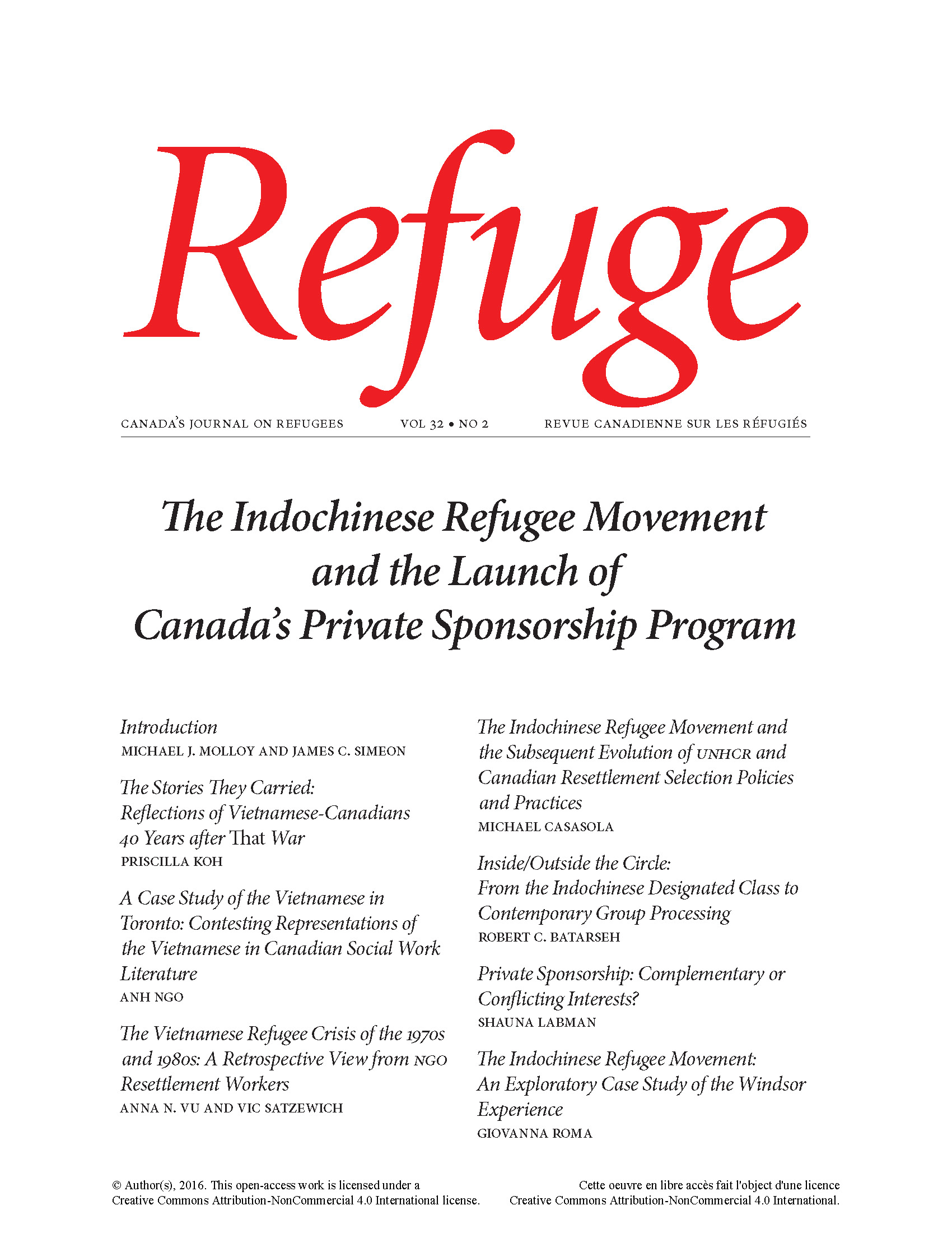 cover image of Refuge special issue Indochinese refugee movement