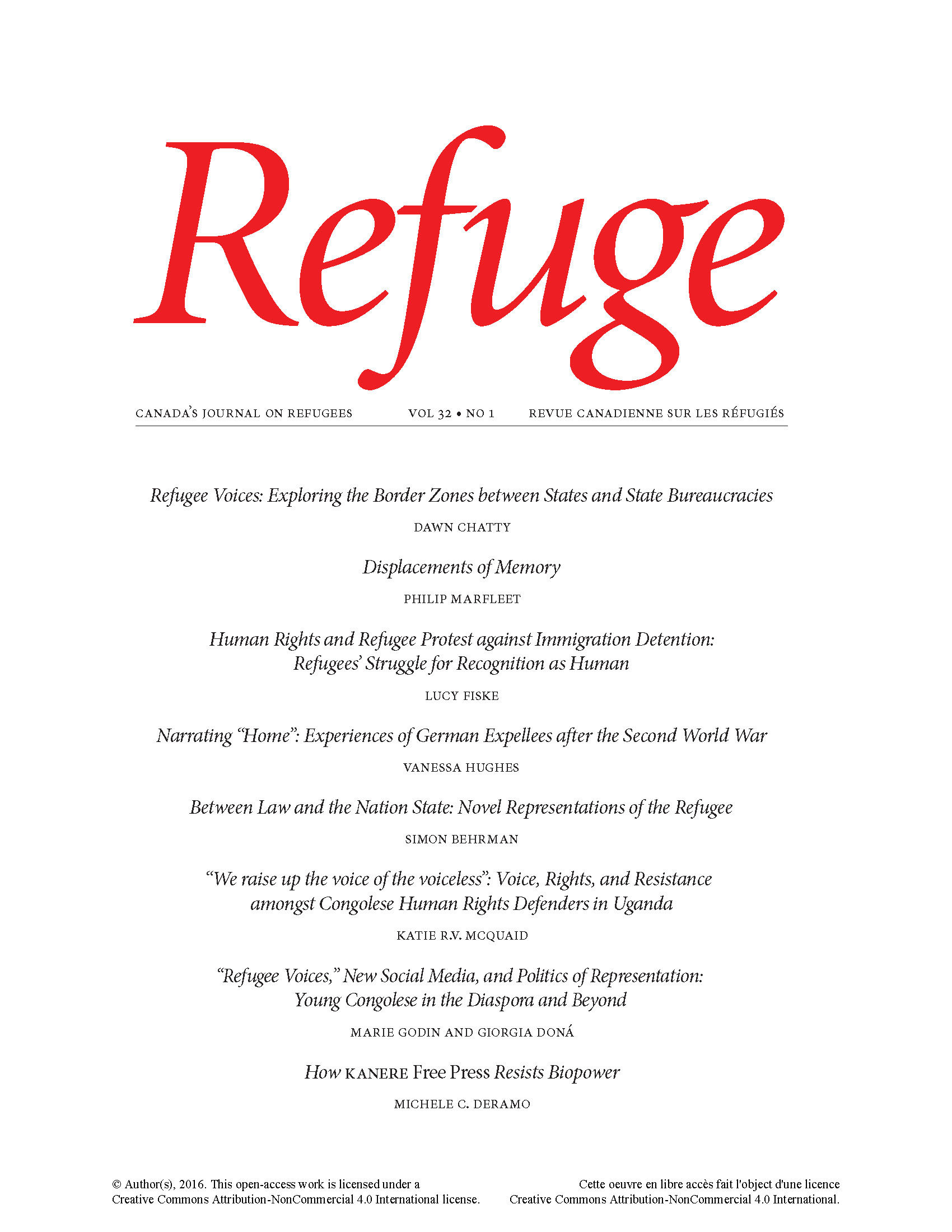 View Vol. 32 No. 1 (2016): Refugee Voices