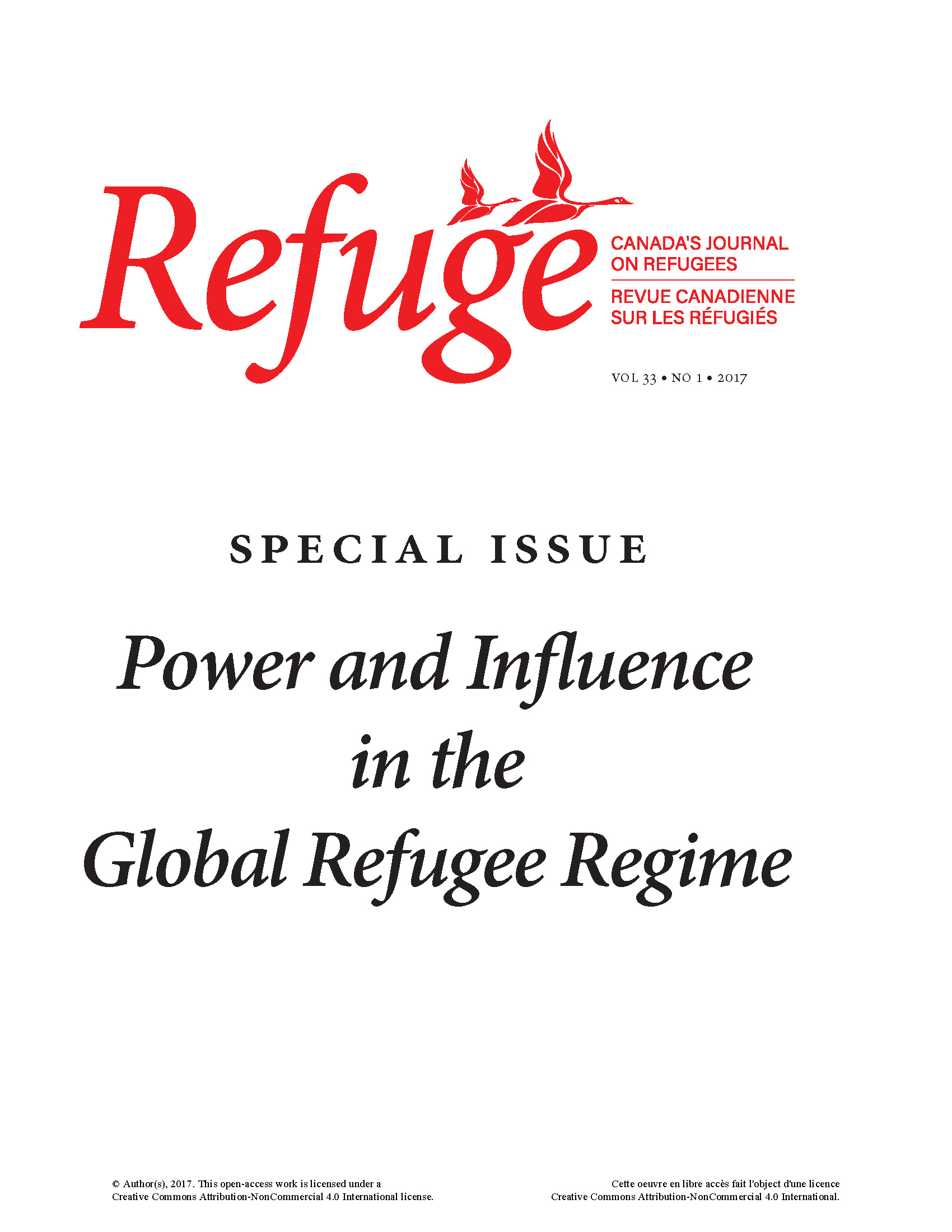 cover image of Refuge special issue on power and influence in the global refugee regime