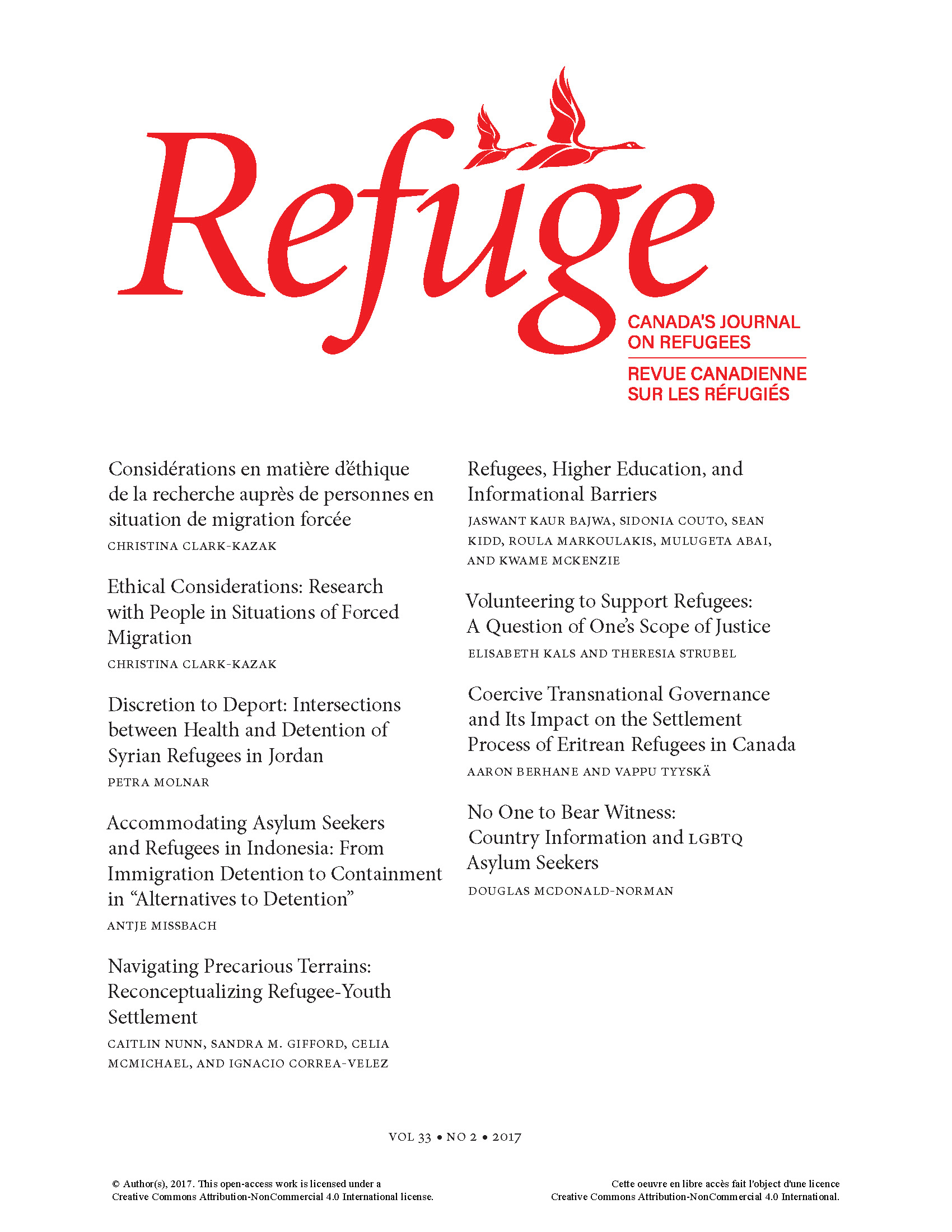 cover of Refuge general issue 33 no. 2 2017