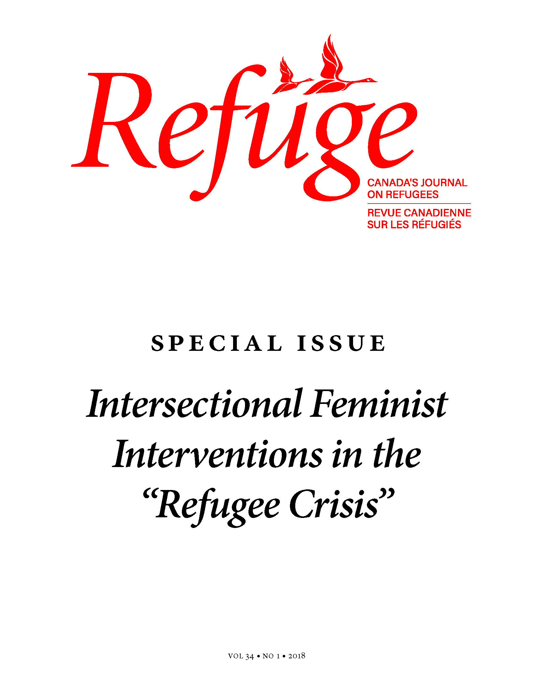 cover image of Refuge special issue intersectional feminist interventions