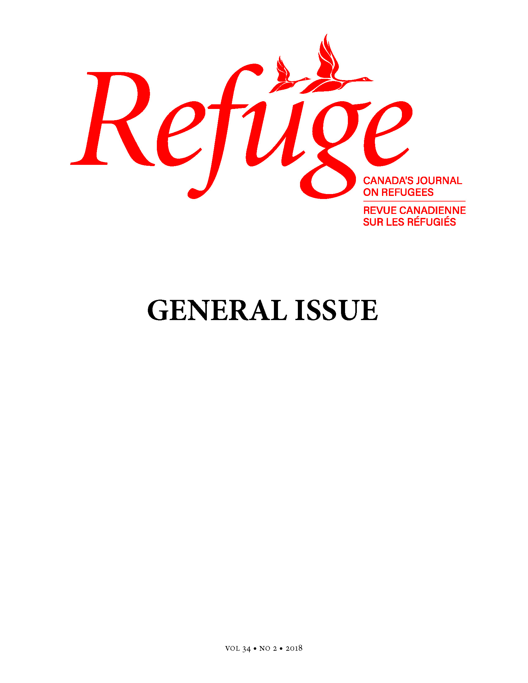 cover of Refuge general issue 34 no. 2 2018