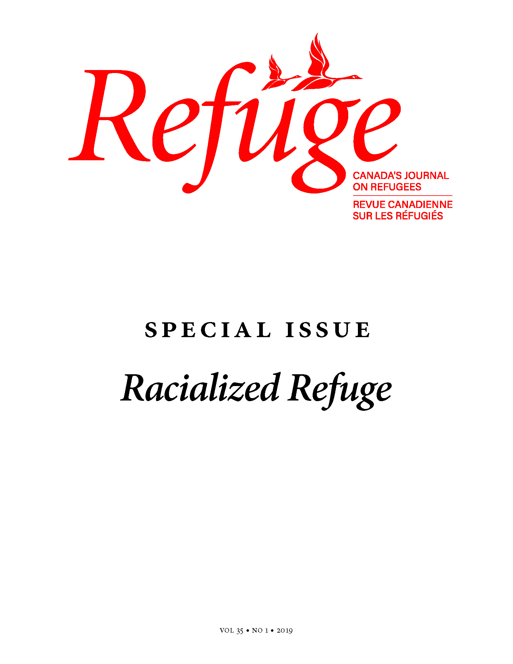 cover image of Refuge special issue on racialized refuge
