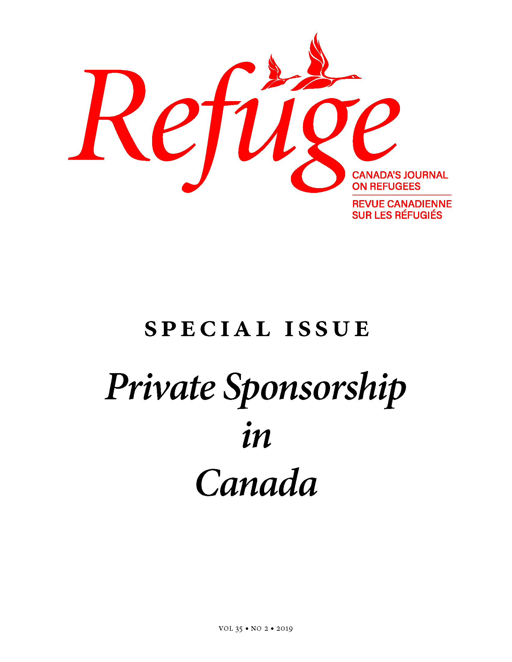 cover image of Refuge special issue on private sponsorship