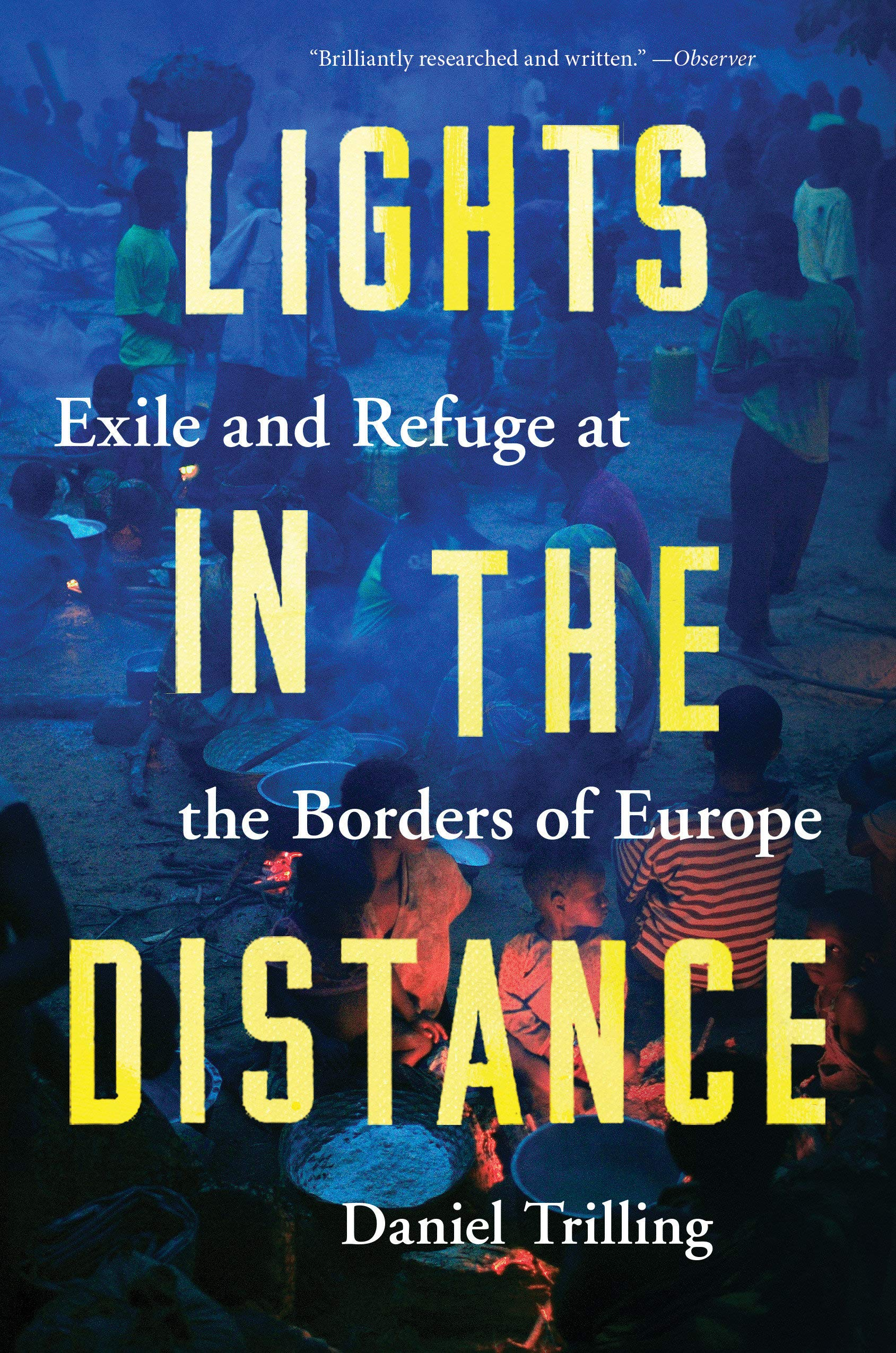 book cover, Lights in the distance, by Daniel Trilling: a picture of people sitting around tables in dim light